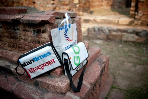 Upcycled Commonwealth Games messenger bags at Qtub Minar