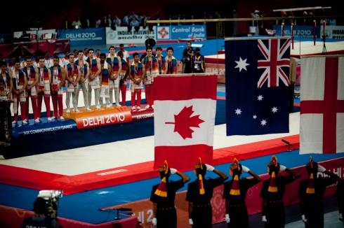 Aussie men's gymnastics medal ceremony