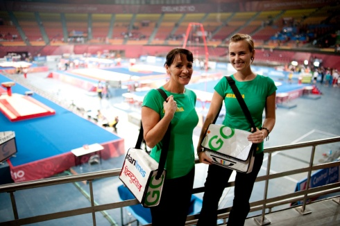 Aussie gymnast's mum and wife model the bags