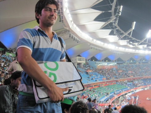 Rahul with Gold messenger bag at Games Athletics