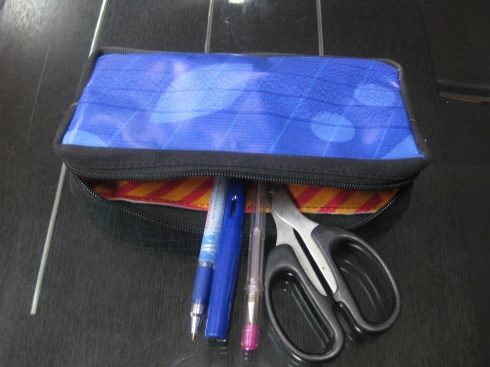 Pencil case made from Delhi Commonwealth Games waste