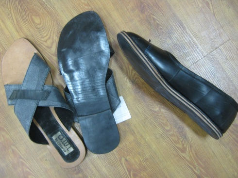 Tyre tube closed toe shoe and men's chappals (slip-on sandal)