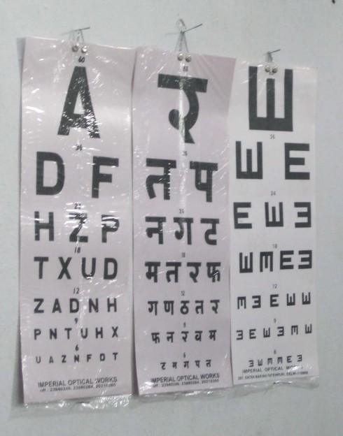 Conserve India health clinic eye check chart