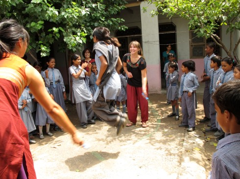 Jenna and Christina at the Conserve India school