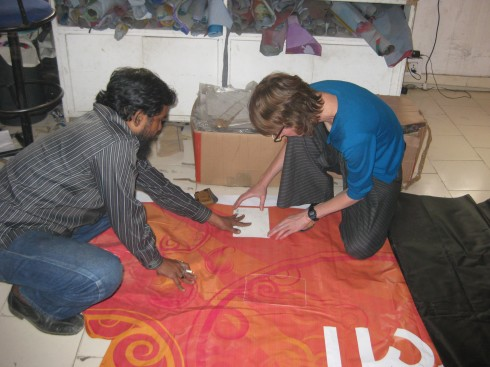 Checking out the banner material with Conserve India's sampling unit