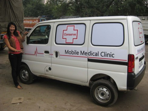Jenna and the new mobile medical clinic van